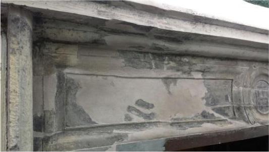 Particolare portale A dopo il restauro