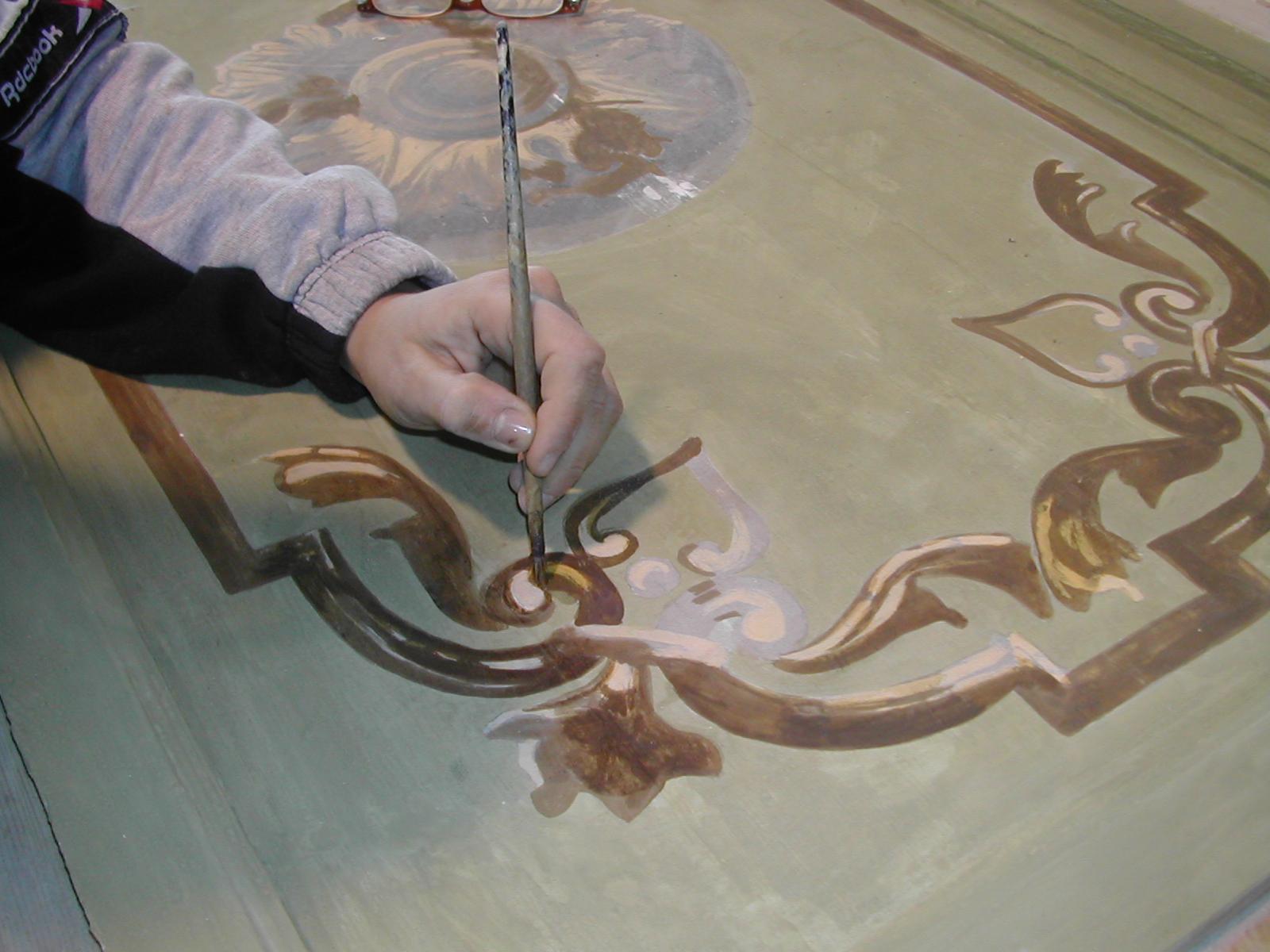 Reintegrazione pittorica dei pannelli del primo ordine dei palchi