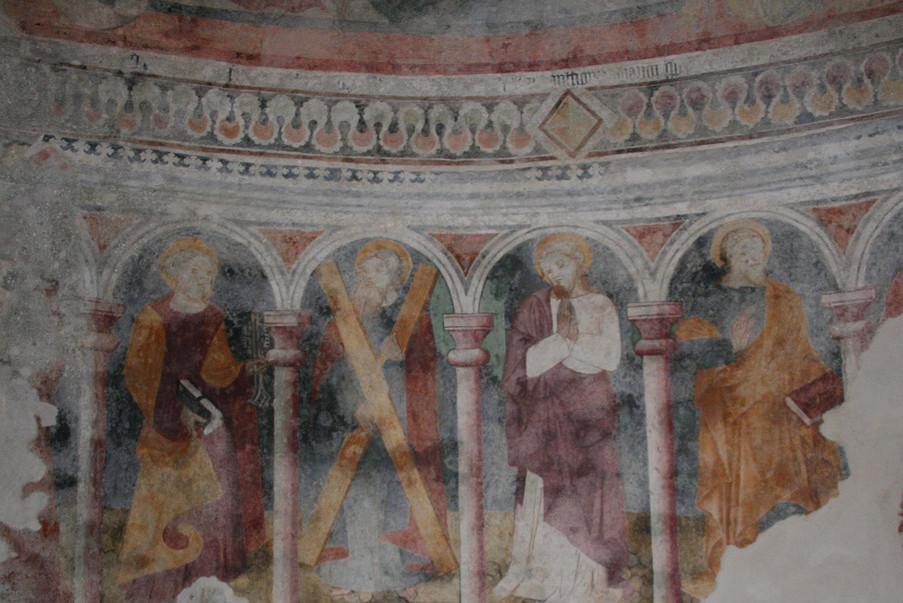 Particolare delle decorazioni murali dopo il restauro